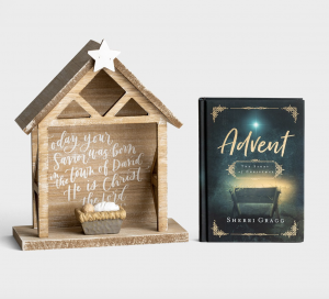 Beautiful Wooden Nativity Set with Family Christmas Devotional