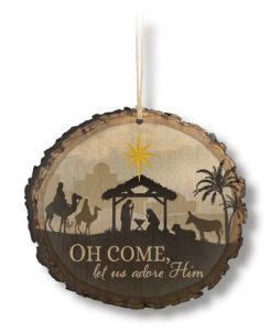 Oh Come Let us Adore Him Wooden Ornament